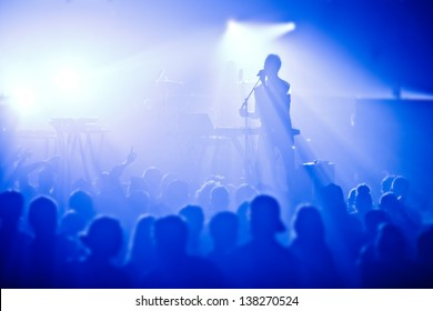 Signer in silhouette in front of a big crowd