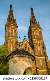 Significant historical church of Saint Peter and Pavel from 11th century made of stone standing at Vysehrad, Prague.