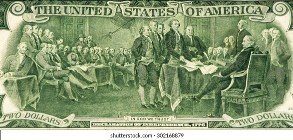 Signing the declaration of independence on the 2 US dollars bank note made in 1976