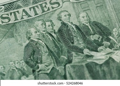 Signing declaration of independence from us two dollar bill macro, united states money closeup