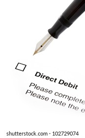 signing a direct debit agreement form isolated cutout