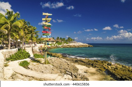 signpost beach mexico