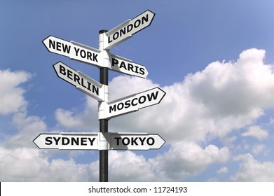 Signpost with the business capitals of the world.