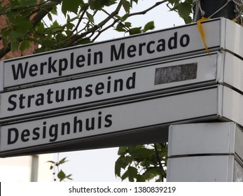 Signpost, centre of Eindhoven the Netherlands. Stratumseind, Mercado and Designhouse. Part of a serie.