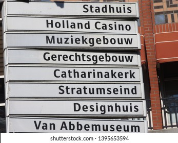 Signpost, centre of Eindhoven the Netherlands. Stratumseind, Catharinakerk and Abbemuseum. Part of a serie.