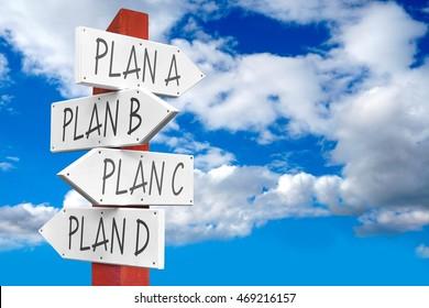Signpost with four arrows concept - plan A, B, C, D.