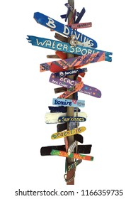 Signpost with isolated white background