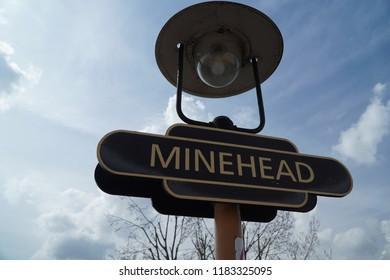 Signpost at Minehead Railway Station