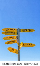 Signpost at most northern part of New Zealand