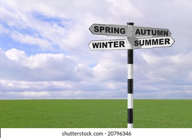 Signpost with the names of the four seasons