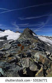 Signpost on the Chamonix to Zermatt trail in the Swiss Alps
