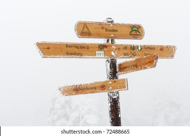 Signpost on cold day with different directions