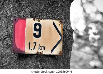 Signpost on a hiking trail in Karlovy Vary in the Czech Republic