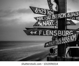 Signpost on the Island Sylt in Germany