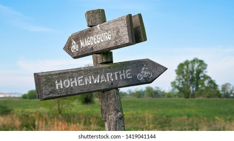 Signpost on the popular Elbe Cycle Route between Magdeburg and Hohenwarthe