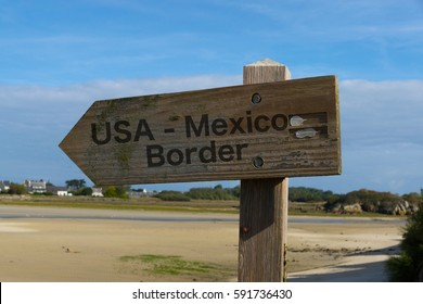A signpost on the United States Mexico border