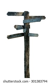 Signpost on a white background