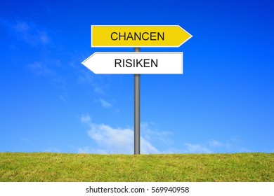Signpost outside is showing Reward and Risk in german language
