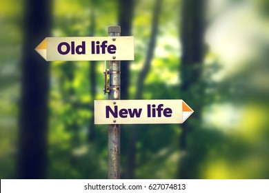 Signpost in a park with arrows old and new life pointing in two opposite directions