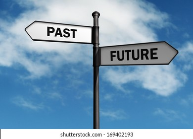 Signpost with past and future direction choices