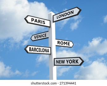 Signpost with popular city destinations