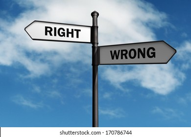 Signpost with right and wrong direction choices