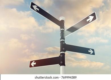 Signpost, road, sign.