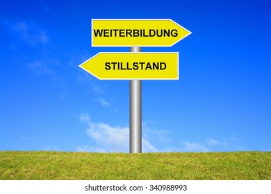 Signpost showing direction - coninuing education or rest in german language