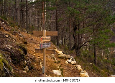 Signpost showing direction and distance to Preikestolen, or Pulpit Rock, the popular tourist destination at Lysefjord, Norway.