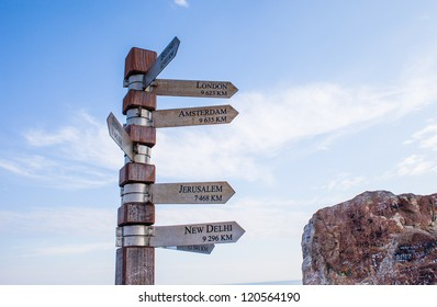 Signpost showing directions to cities, Cape Point