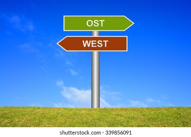 Signpost showing directions - East or west in german language