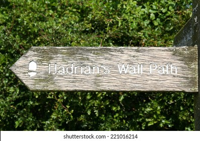 Signpost showing the route of Hadrian's Wall Path in the North of England.