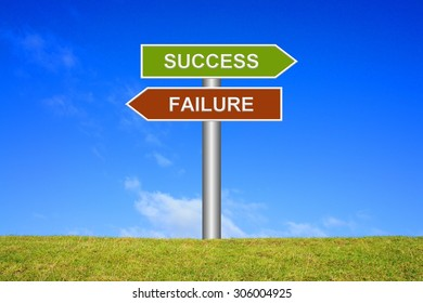 Signpost sign with blue sky and green grass showing success or failure