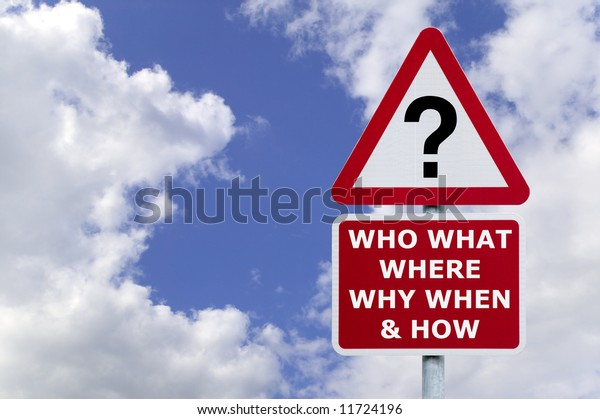 Signpost with the six most commonly asked questions, against a blue cloudy sky.