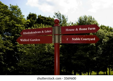 Signpost at stately home (Temple Newsam)