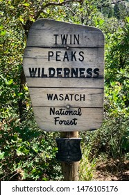 Signpost of Twin Peaks Wilderness in Wasatch National Forest of the Utah Mountains