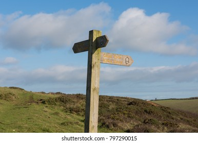Signpost for Valley Routes on the South West Coast Path between Hartland Quay and Bude in Rural Devon, England, UK