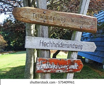 Signposts of hiking trails in the Sauerland region (Hesse, Germany)