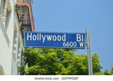 Signposts Of Hollywood Boulevard On The Walk Of Fame In Hollywood Boluvedard. July 7, 2017. Hollywood Los Angeles California. USA. EEUU