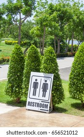 Signs to the bathroom in the park