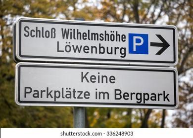 signs of bergpark wilhelmshoehe kassel germany in the autumn