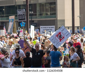 Signs and Crowd at Families Belong Together - Chicago March, jUNE 30, 2018, Richard J Daley Center, Chicago, IL