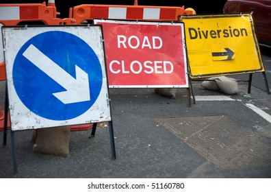 Signs informing about a closed road