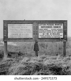 Signs for migrant workers in Spanish and English, Fresno, 1933. Spanish and English readers are directed to separate camps.