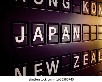 Signs name of Japan country on black directory board. Used for For currency exchange, airport, business, finance or travel concept, Signs and symbols.