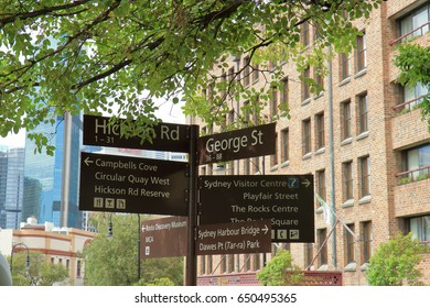 Signs on directions in Rocks area, sydney, Australia
