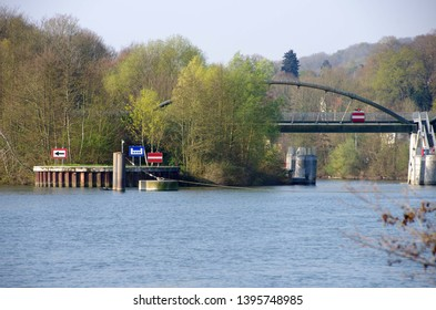 Signs on the river Oise near Paris in France, Europe