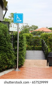 Signs ramps for support wheelchair disabled people.