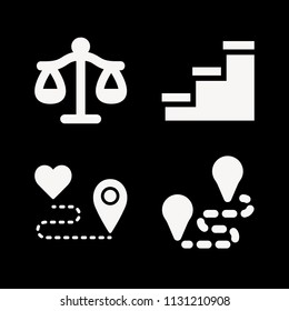 Signs related set of 4 icons such as route, libra justice balanced scale symbol