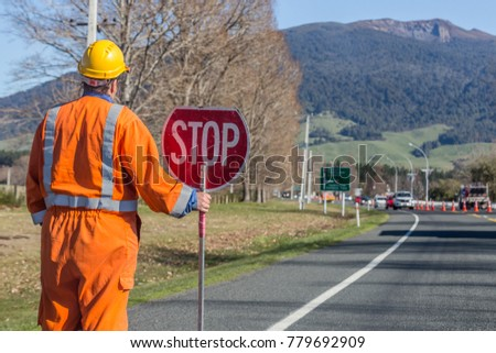 Signs Repairs Road Worker Stock Photo Edit Now 779692909